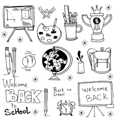 Doodle of school tools object vector