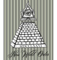 All seeing eye pyramid symbol vector