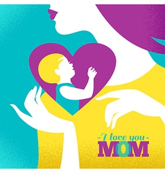 Beautiful silhouette of mother and baby in heart vector