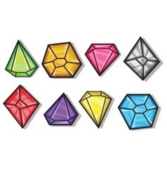Cartoon gems and diamonds icons set vector image