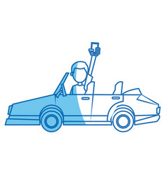 Character man holding smartphone in car blue line vector
