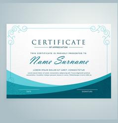 clean blue certificate design modern template vector image vector image