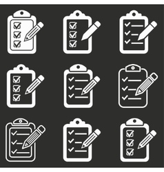 Clipboard pencil icon set vector