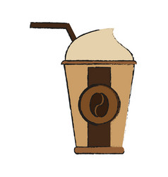 Disposable coffee cup with straw icon image vector