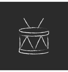 Drum with sticks icon drawn in chalk vector image