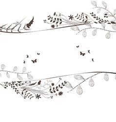 Florals and butterflies black background copyspace vector