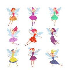 Flying fairy girls with angle wings vector