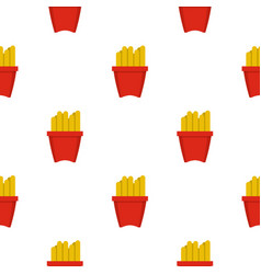 French fries in a red box pattern seamless vector