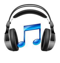 headphones and musical note vector image vector image