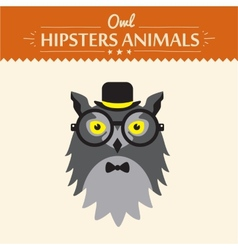 Hipster owl greeting card design vector