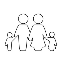 line nice family together with parents and vector image