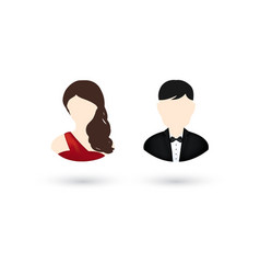 male and female user icons in flat style for vector image vector image