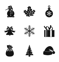 New year icons set simple style vector