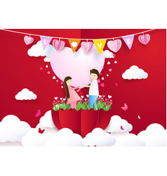 paper art style couple holding heart background vector image vector image