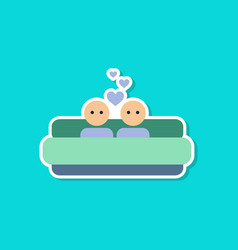 paper sticker on stylish background of gays in bed vector image vector image