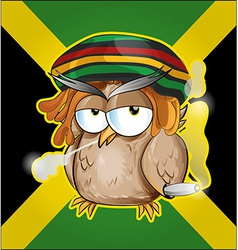 Rastafarian owl cartoon on jamaican flag vector image vector image