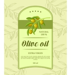 Retro label for olive oil with green olive branch vector