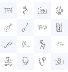 Set of 16 editable trip icons includes symbols vector