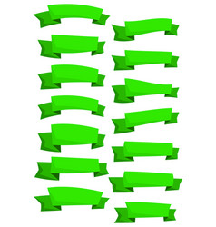 set of green cartoon vector image