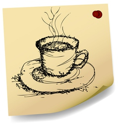 sketch of coffee on sticky paper vector image