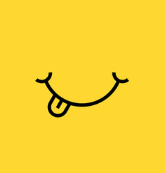 smile with tongue on yellow background vector image