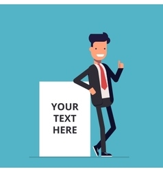 Smiling businessman stands near the net vector