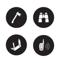 Survival equipment black icon set vector