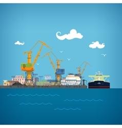 Unloading oil from the tanker vector