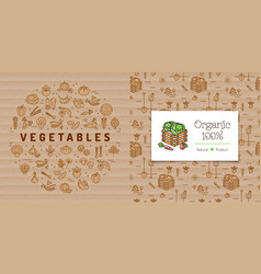 vegetables circle banner and organic farming card vector image vector image