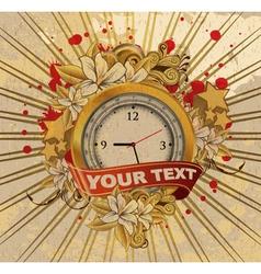 Vintage emblem with gold clock vector