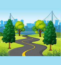 Wavy road in the city park vector