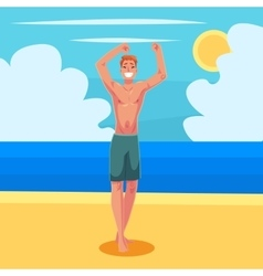 Young red haired athletic man in swimming shorts vector image vector image