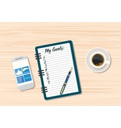 Coffee and blank memo with smartphone vector