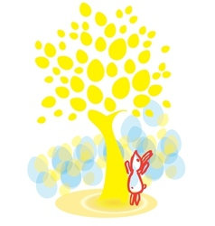 Easter bunny under the egg-tree vector