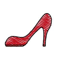 color crayon stripe cartoon red high heels shoes vector image
