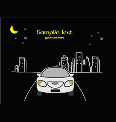 Drive the car cartoon in the night city vector