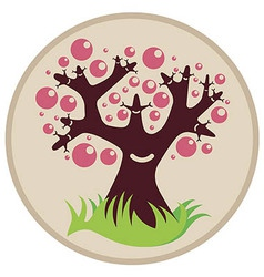 Smiling tree with pink bubbles vector image