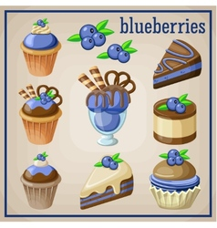 Set of sweets with blueberries vector image