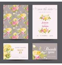 Invitation Flower Card Set - Save the Date vector image