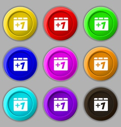 Plus one add one icon sign symbol on nine round vector