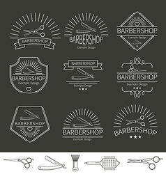 Barber and hairdressing icons vector