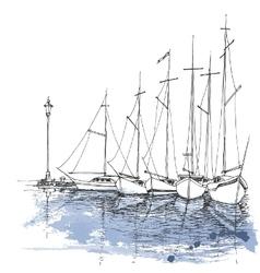 Boats on water harbor sketch transportation vector image