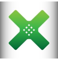 Aid sticker sign green gradient icon vector