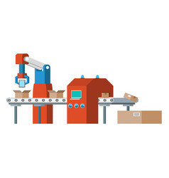 assembly line automated conveyor system vector image vector image