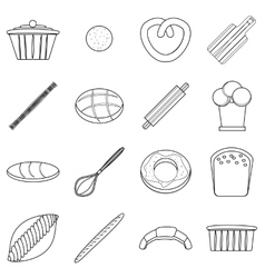 Bakery products icons set outline style vector