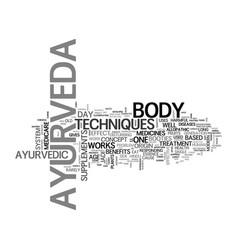 Benefits of ayurveda text word cloud concept vector