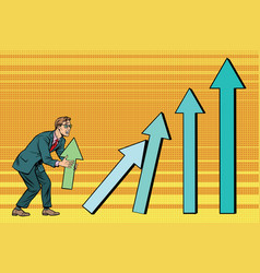 businessman destroys growth charts sales vector image vector image