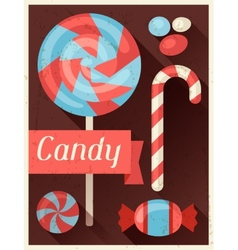 Candy retro poster background design in flat style vector image