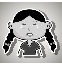 crying cartoon little girl on white background vector image vector image