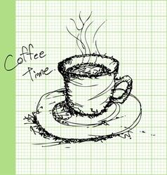 Draw sketches of coffee on graph paper ector vector image vector image